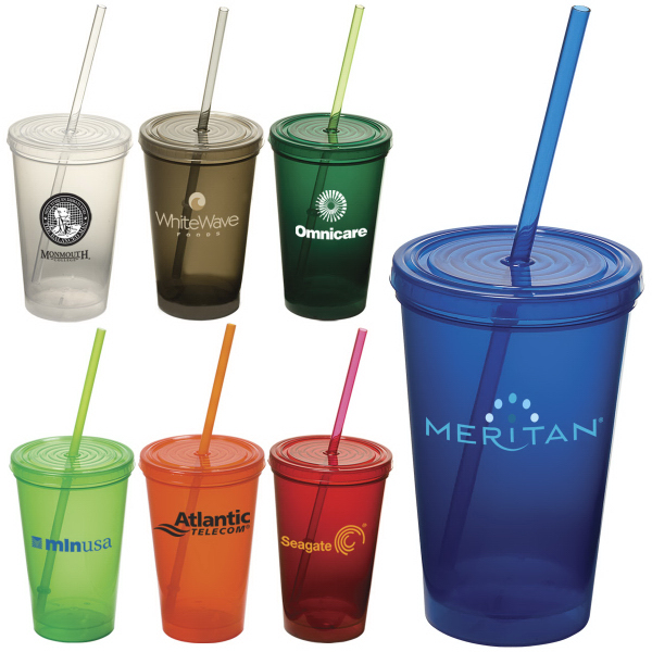 16 oz.  plastic cup tumbler with double wall, screw-top lid and straw